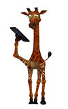 Cartoon giraffe with a tablet Royalty Free Stock Image