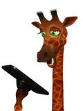 Cartoon giraffe with a tablet Royalty Free Stock Photo