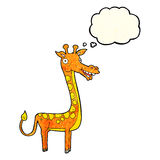 Cartoon giraffe with thought bubble Stock Images