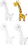 Cartoon giraffe. Vector illustration. Dot to dot game for kids Stock Images