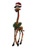 Cartoon giraffe wearing Santa hat. Stock Image
