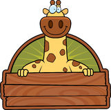 Cartoon Giraffe Wood Sign Royalty Free Stock Photos