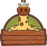 Cartoon Giraffe Wood Sign Royalty Free Stock Photos