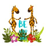 Cartoon giraffes with tropical leaves, flowers and lettering Be wild and free! royalty free illustration