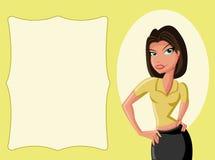 Cartoon girl. Beautiful vector cartoon girl smiling Stock Images