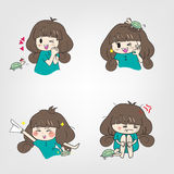 Cartoon girl with action and doing activities Stock Photography