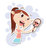 Cartoon girl applying makeup. Cartoon beautiful girl applying makeup stock illustration