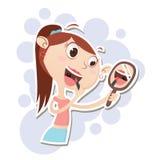 Cartoon girl applying makeup. Stock Photos