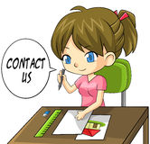 Cartoon girl artist writing a contact us paper boa Royalty Free Stock Images