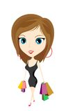Cartoon girl with bags Royalty Free Stock Photos