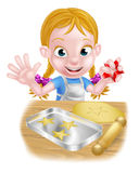 Cartoon Girl Baking Royalty Free Stock Photos