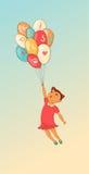 Cartoon girl with balloon. Hand drawn. Stock Image