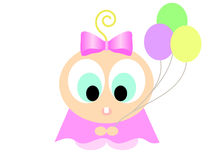Cartoon girl with balloons Royalty Free Stock Images