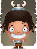 Cartoon Girl Barbarian Smiling. A cartoon illustration of a girl barbarian smiling Stock Photos