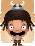 Cartoon Girl Barbarian Smiling. A cartoon illustration of a girl barbarian smiling Stock Image