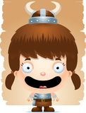 Cartoon Girl Barbarian Smiling. A cartoon illustration of a girl barbarian smiling Royalty Free Stock Images