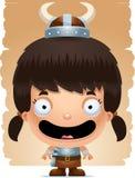 Cartoon Girl Barbarian Smiling. A cartoon illustration of a girl barbarian smiling Royalty Free Stock Photography
