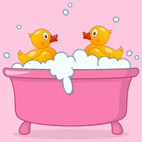 Cartoon Girl Bathtub with Rubber Ducks. Two cute rubber ducks in a pink bath tub with foam and bubbles. Eps file available vector illustration