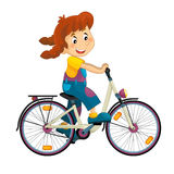 Cartoon girl on the bicycle Royalty Free Stock Photo