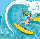 Cartoon girl in a bikini surfing Royalty Free Stock Image