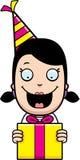 Cartoon Girl Birthday Present Royalty Free Stock Image
