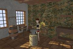Cartoon girl in blacksmith Royalty Free Stock Photo