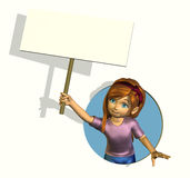 Cartoon Girl with Blank Sign Royalty Free Stock Photography