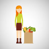 Cartoon girl blonde grocery bag vegetables Royalty Free Stock Photography