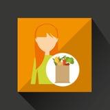 Cartoon girl blonde grocery bag vegetables Stock Images