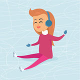 Cartoon Girl in Blue Headphones Sits on Icerink Stock Photography