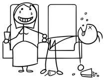 Cartoon of Girl and Boy on Date in Cinema. Cartoon vector doodle stickman couple on date in cinema, girl happy,boy sleeping bored Royalty Free Stock Photo