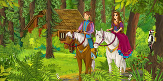 Cartoon girl and boy riding on a white horse - princess or queen Stock Photo
