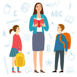 Cartoon girl and boy with teacher. Royalty Free Stock Image