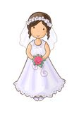 Cartoon girl bride Royalty Free Stock Photos