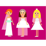 Cartoon girl brides Stock Images