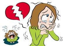 Cartoon girl and broken heart Stock Photography