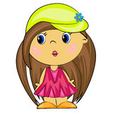 Cartoon girl. brunette kid. Isolated character Stock Image