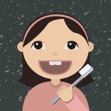 Cartoon girl brushing teeth Royalty Free Stock Images