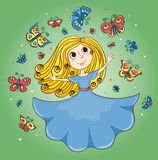 Cartoon girl and butterflies Royalty Free Stock Photo