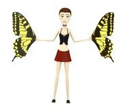 Cartoon girl with butterfly wings Stock Image