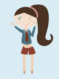 Cartoon of girl bye hand Royalty Free Stock Photography