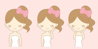 Cartoon girl care her face Royalty Free Stock Photo