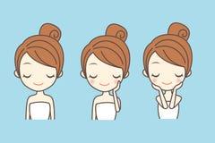 Cartoon girl care her face Stock Photo