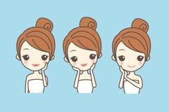 Cartoon girl care her face Stock Image