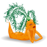 Cartoon girl carrot Stock Photography