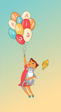 Cartoon girl and a cat with balloon. Hand drawn vector illustration.  Royalty Free Stock Images