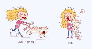 Cartoon girl is catching the cat. Girl holding and strongly cuddling cat. Catch up and cuddle. Cartoon girl is catching the cat. Girl holding and strongly royalty free illustration
