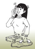 Cartoon girl on cellphone Stock Photo