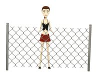 Cartoon girl with chain fence Royalty Free Stock Photo