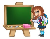Cartoon girl with chalkboard Stock Photos